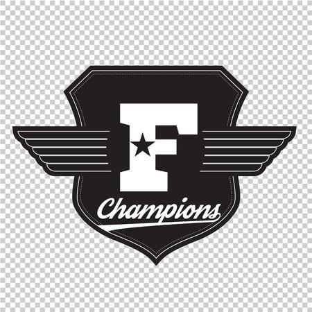 Sport athletic champions college varsity baseball football emblem.