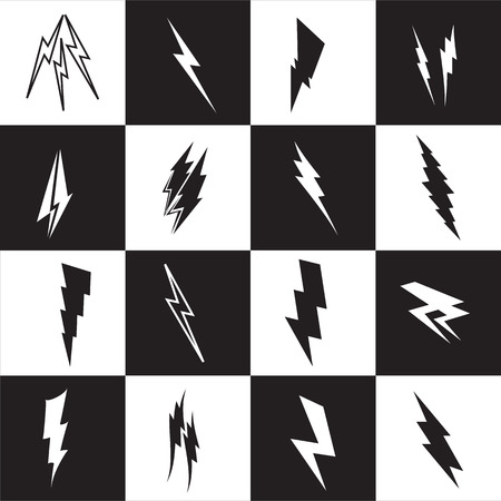 perilous: Vector lightning silhouette. Lightning Bolt icon set