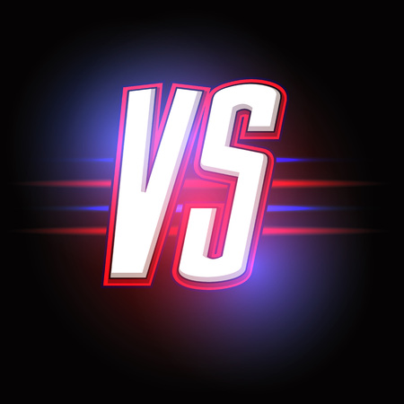 Neon Versus . VS Vector Letters Illustration. Competition Icon