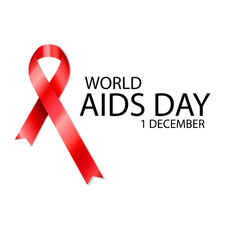 1 December World Aids Day poster with text and red ribbon of aids awareness Illustration