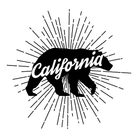 Vintage California bear with sunbursts. Vector Graphics and typography t-shirt design for apparel Ilustração