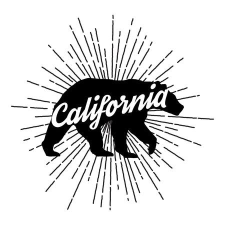 Vintage California beer met zonnestralen. Vector Graphics en typografie t-shirt ontwerp voor kleding Stock Illustratie