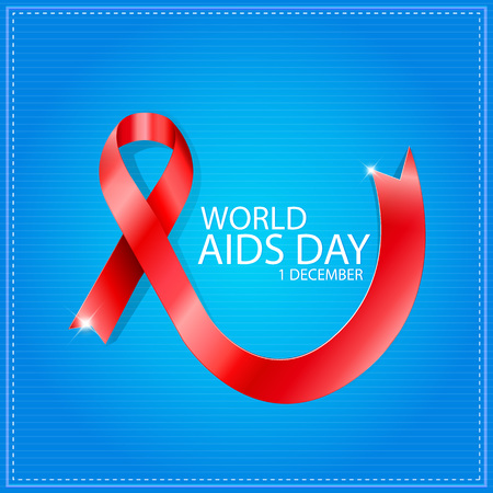 World Aids Day poster with text and red ribbon of aids awareness. Very easy customize and use Illustration