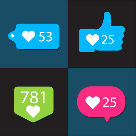 feedback link: Social pictogram Counter Notification Icons collection. Easy to use. Illustration