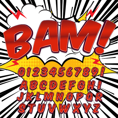 Creative high detail comic font. Alphabet in the style of comics, pop art. Letters and figures for decoration of kids illustrations, comics and banners. Easy to use for works.