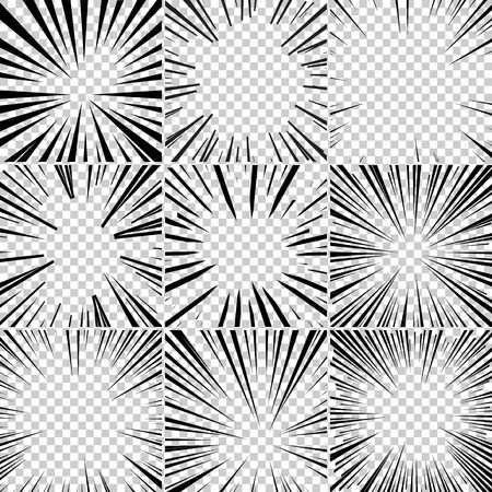 Comic book superhero pop art stijl zwart en wit radiale lijnen achtergrond. Manga en anime speed frame. Grote verzameling van Explosion.