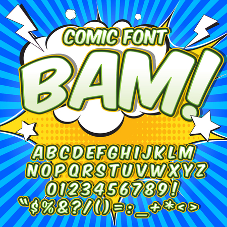 Alphabet collection set. Comic pop art style. Letters, numbers and figures for kids illustrations, websites, comics Illustration