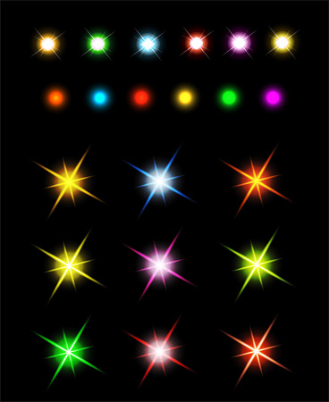 scintillation: Collection of sparkle Set of Glowing Light Stars with Sparkles