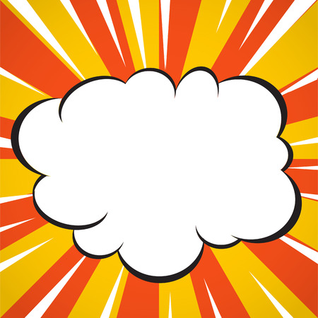 Comic book superhero explosion cloud pop art style yellow and white radial lines background.