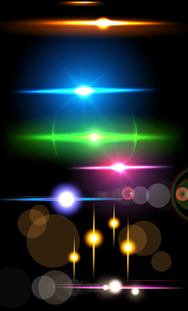 Collection of beautiful bright lens flares. Lighting effects of flash. Easy to use.
