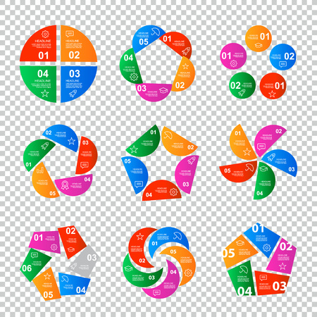 hierarchy: Set of infographics step by step in the form of polygons. Charts, graphs, diagrams, options, parts, processes. Easy to use for your business projects templates for presentation and report.