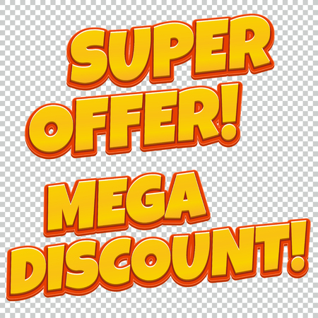 tally: Collection of Mega Discount and Best Seller comic banner. Sale background. Poster can be used for banners, flyers, outdoor printing, web. Illustration