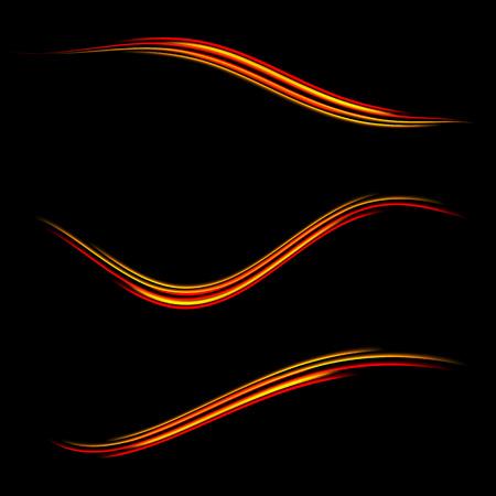 Het verzamelen van de magie gloeiende licht swirl trail spoor effect op zwarte achtergrond. Glitter brand vonk golf lijn met vliegende sprankelende flitslichten. Makkelijk te gebruiken. Stock Illustratie