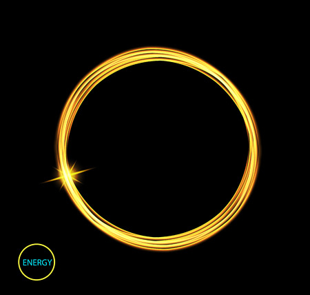 Round energy frame. Shining circle banner. Magic light neon energy circle. Glowing fire ring trace. Glitter sparkle swirl trail effect on black background. Easy to use. Illustration