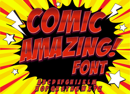 amazing: Creative high detail comic font. Alphabet in the style of comics, pop art. Letters and figures for decoration of kids illustrations, comics and banners. Easy to use for works.