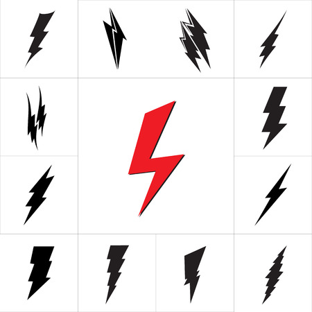 Vector lightning silhouette. Lightning Bolt icon set