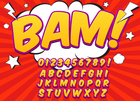 Comic alphabet set. Letters, numbers and figures for kids illustrations websites comics banners.