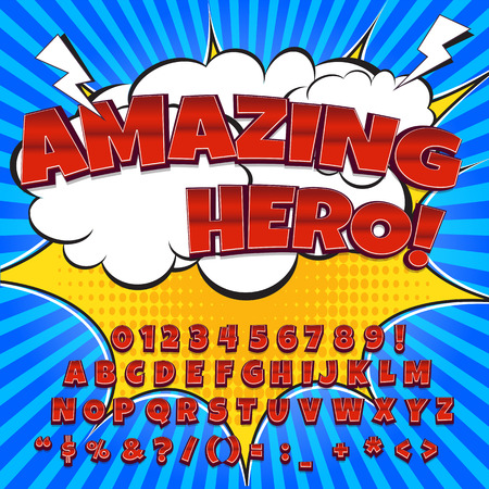 Comic alfabet set. Letters, cijfers en cijfers voor de kinderen 'illustraties websites comics banners.