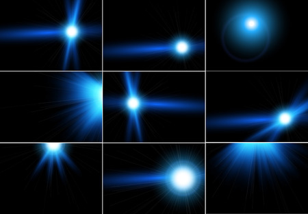 Mega collection of blue lens flares beams and flashes on black background.