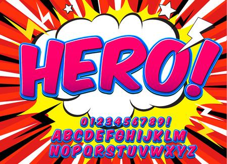Creative haut niveau de détail font comique. Alphabet dans le style de la bande dessinée, l'art pop. Les lettres et les chiffres pour la décoration des illustrations, des bandes dessinées et des bannières pour enfants. Facile à utiliser pour les travaux.
