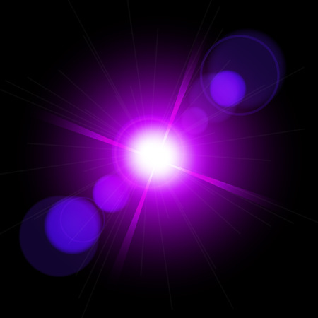 Lighting effects of flash. Star with lens flare and bokeh effect. Easy to use