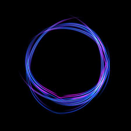 Energy frame. Shining circle banner. Magic light neon energy circle. Glowing fire ring trace Ilustração