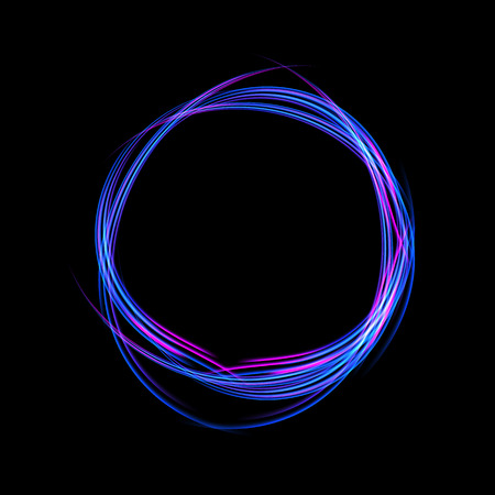 Energy frame. Shining circle banner. Magic light neon energy circle. Glowing fire ring trace Illustration