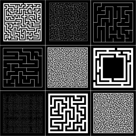 Collection of maze with solution. Vector Labyrinth set Иллюстрация