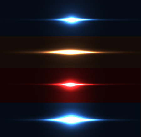 dazzle: Realistic light glare sparkle, highlight set. Collection of beautiful bright lens flares. Lighting effects of flash. Easy to use. Illustration