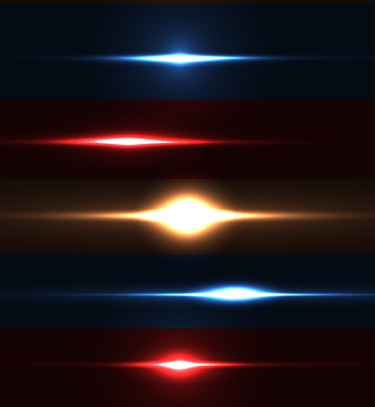 Realistic light glare sparkle, highlight set. Collection of beautiful bright lens flares. Lighting effects of flash. Easy to use. Illustration