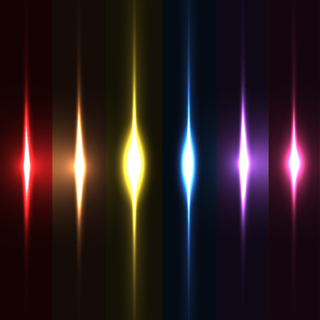Collection of beautiful bright lens flares. Lighting effects of flash. Easy to use Vector Illustration