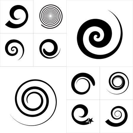抽象的なスパイラル ベクトル要素のコレクション。分離されました。  イラスト・ベクター素材