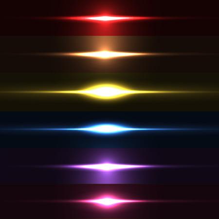 Verzameling van mooie heldere lens flares. Lichteffecten van de flitser. Makkelijk te gebruiken Stock Illustratie