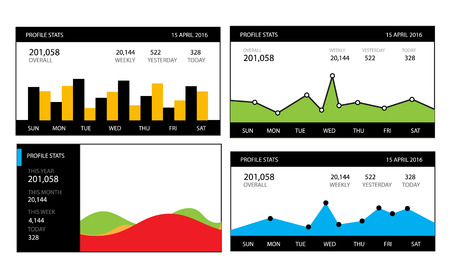subsidiary: Graphs and charts set. Statistic and data, information infographic