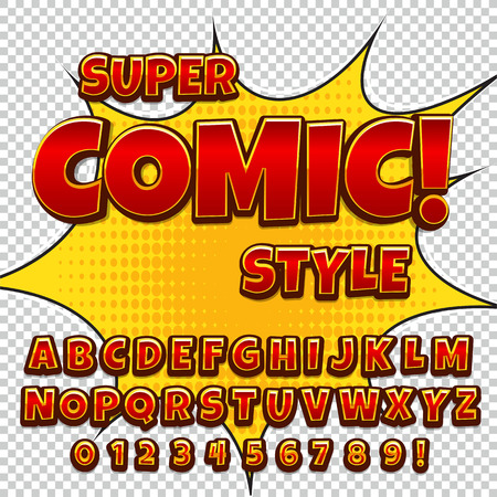 Comic alphabet set. Letters, numbers and figures for kids illustrations, websites, comics, banners