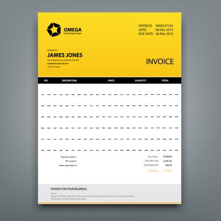 Customizable Invoice template Layout design. Vector illustration