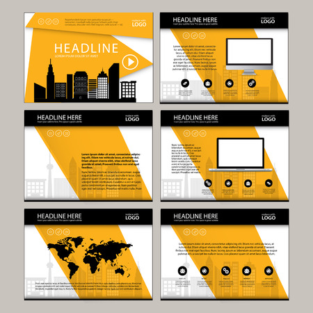 keynote: Business Template design set Presentation and brochure Annual report, flyer page with infographic element. Illustration