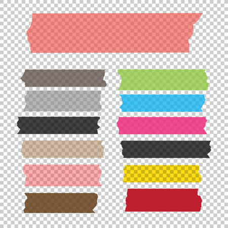 Collection of adhesive tape pieces isolated Illustration