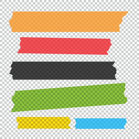 Collection of adhesive tape pieces vector set