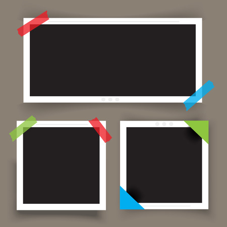 Collection of photo frame with shadow pin on sticky tape  イラスト・ベクター素材