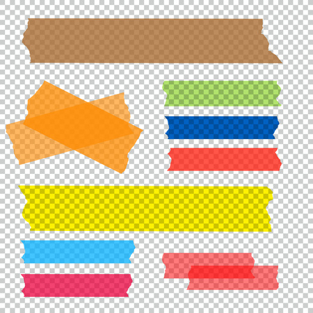 note paper: Set of accept cross and different size adhesive tape. Illustration