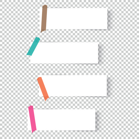 Collection of office paper sheets or sticky stickers with shadow