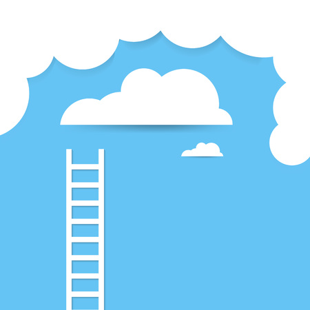 Ladder concept in the sky. Illustration of paper art style.