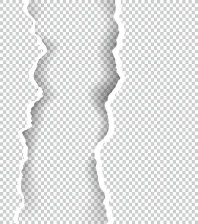 텍스트, 벡터 아트 및 그림에 대 한 공간을 가진 투명 한 종이 찢 어.