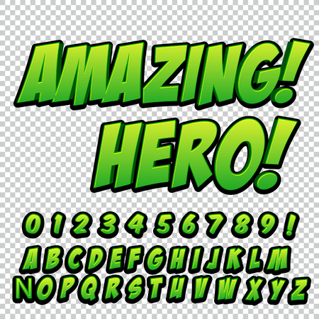 Comic alphabet set. Letters, numbers and figures for kids illustrations websites comics banners
