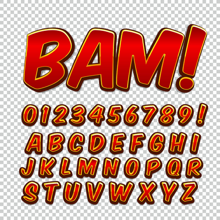 onomatopoeia: Creative high detail comic font. Alphabet of comics, pop art. Letters and figures for decoration of kids
