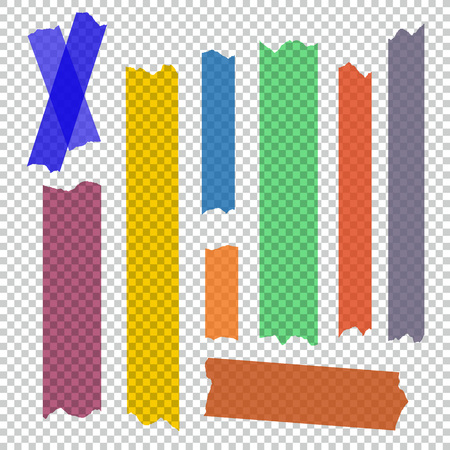 Set of accept cross and different size adhesive tape. Illustration