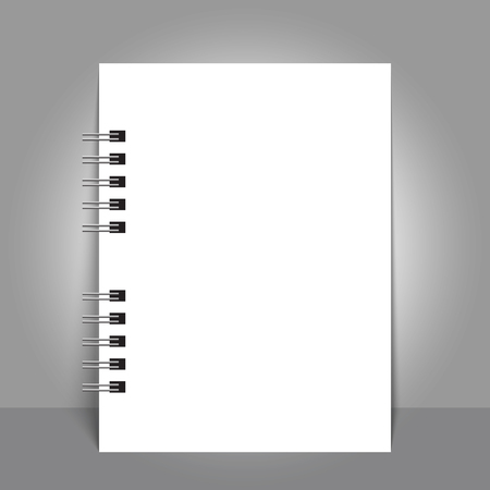 Realistic sheets of paper with spiral mockup cover template.