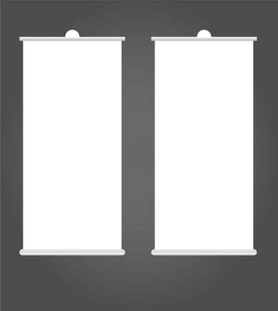 Blank Roll up banner stand mockup cover template. Isolated.