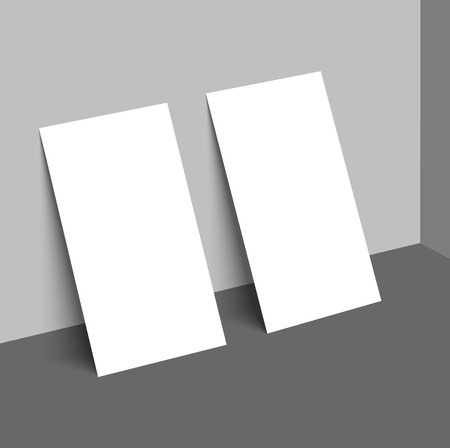 Two business card with shadow mockup cover template. Illustration